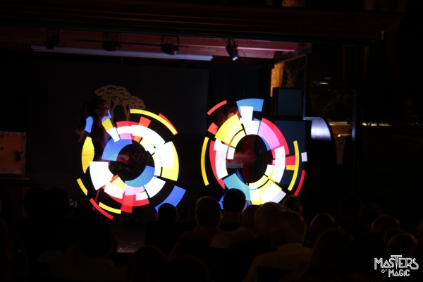 Jugglers with special LED displays that allow you to magically draw in the air any type of image, company logo and pattern