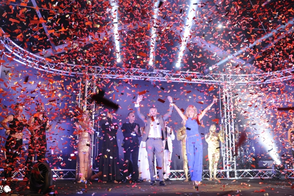 Grand finale show Infinity event Stulz. Explosion of lights and colors on the stage.
