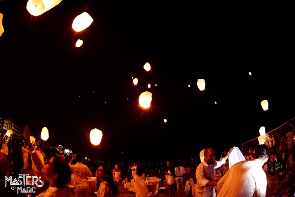 Launch Chinese lanterns during corporate event