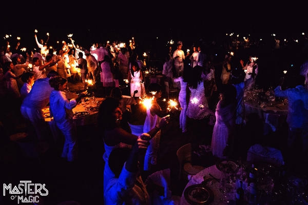 Business event in white and the magic of lanterns.